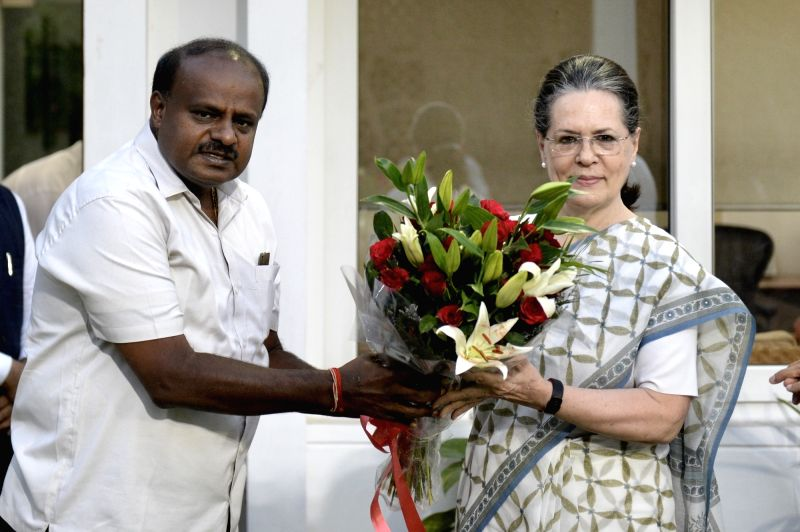 Karnataka Chief Minister designate H.D. Kumaraswamy calls on  UPA chairperson Sonia Gandhi in New Delhi, on May 21, 2018. - Sonia Gandhi