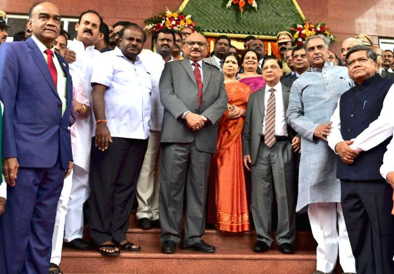 Karnataka Chief Minister H.D. Kumaraswamy, Chief Justice of India Dipak Misra, Supreme Court Judge Justice Mohan Shantanagoudar and JDS MLC Basavaraj Horatti at the inauguration of the new ... - H.