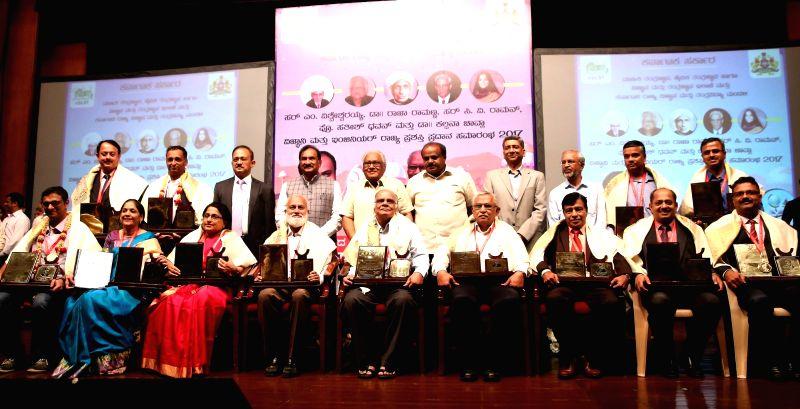 Karnataka Chief Minister H. D. Kumaraswamy during a award ceremony at J N Tata Auditorium, IISc., in Bengaluru on Aug 6, 2018. - H. D. Kumaraswamy