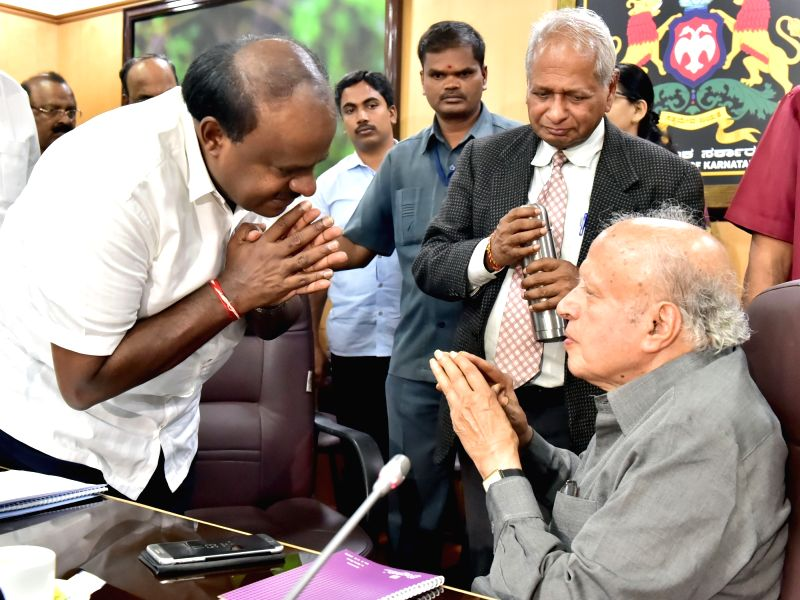 Karnataka Chief Minister H. D. Kumaraswamy meets Indian Geneticist Dr. M. S. Swaminathan at Vidhan Soudha in Bengaluru on July 13, 2018. - H. D. Kumaraswamy