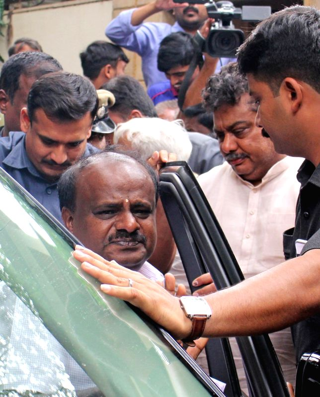 Karnataka Chief Minister H. D. Kumaraswamy with Congress legislator M. B. Patil in Bengaluru, on June 8, 2018. - H. D. Kumaraswamy and M. B. Patil