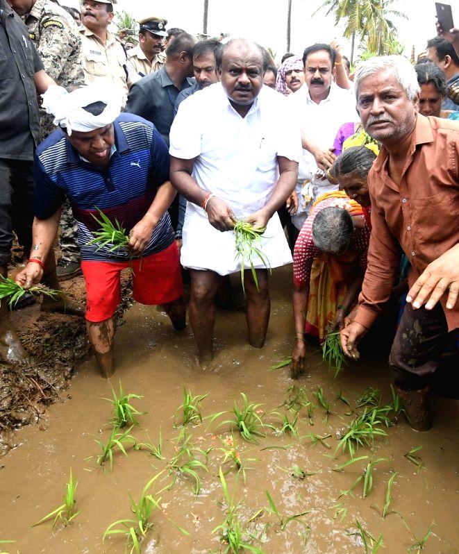 Karnataka Chief Minister HD Kumaraswamy along with farmers transplants the first paddy crop of the monsoon season at the Sitapura village in the Mandya district of Karnataka on Aug 11, 2018. - H
