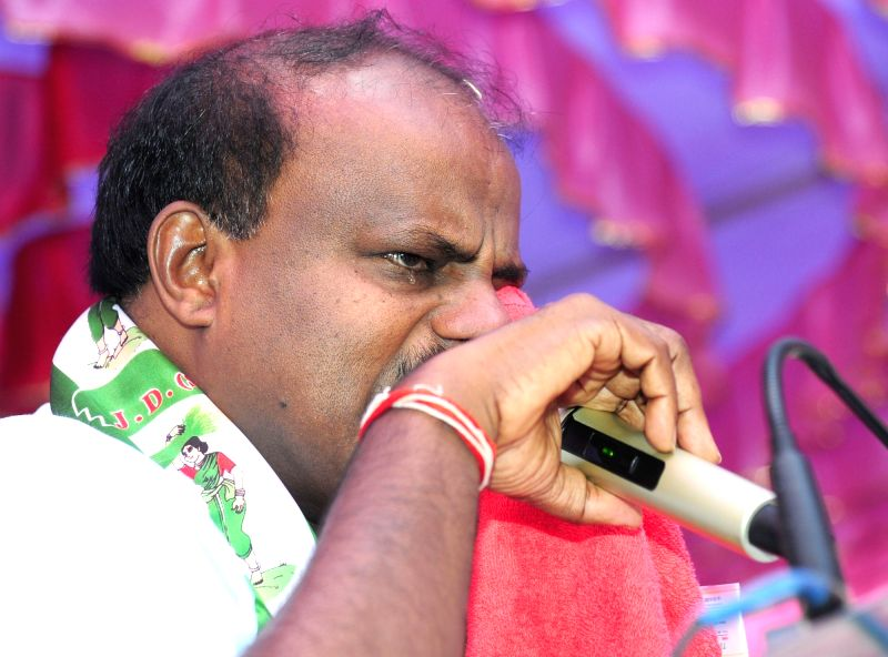 Karnataka Chief Minister HD Kumarswamy gets emotional during his felicitation programme organised by JD(S), in Bengaluru on July 14, 2018. - H
