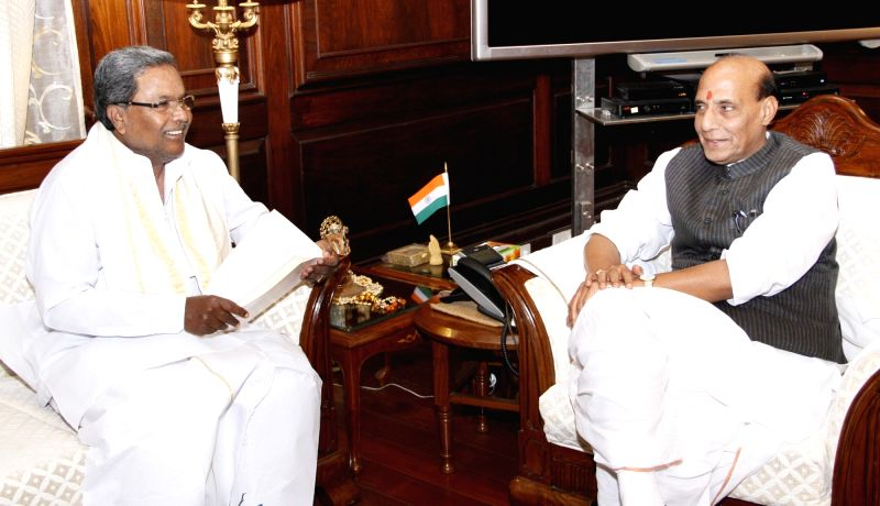 Karnataka Chief Minister K Siddaramaiah calls on the Union Home Minister Rajnath Singh, in New Delhi on Oct 28, 2015. - K Siddaramaiah