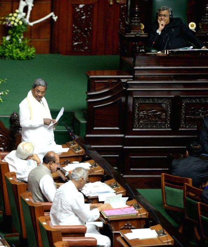 Karnataka Chief Minister Siddaramaiah addresses at Vidhan Soudha in Bengaluru on June 5, 2017. - Siddaramaiah
