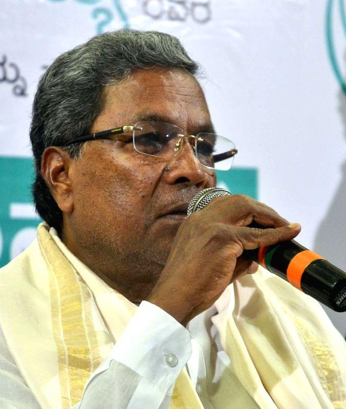 Karnataka Chief Minister Siddaramaiah addresses a press conference in Bengaluru, on May 19, 2017. - Siddaramaiah
