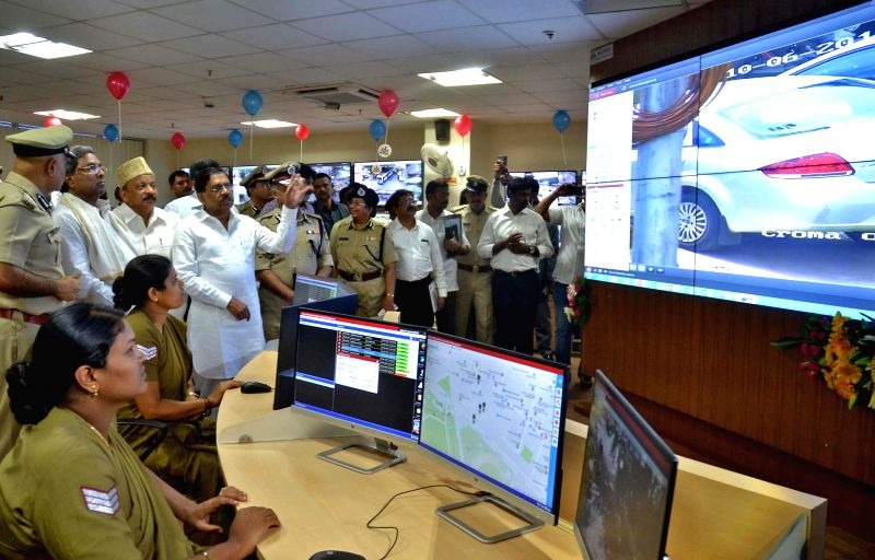 Karnataka Chief Minister Siddaramaiah and Home Minister Dr. G Parameshwar during the inauguration of Namma 100 and the Command Centre of Bangalore City Police at Commissioner office in ... - Siddaramaiah
