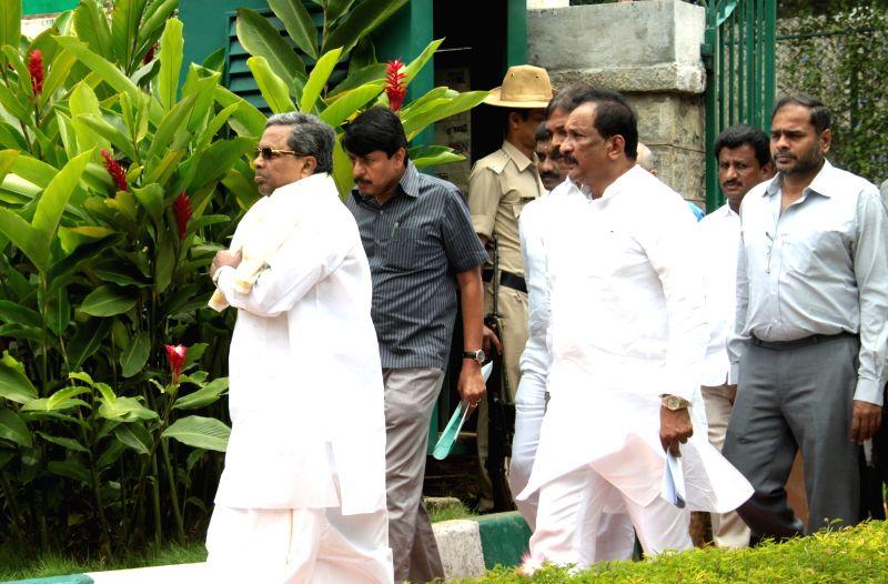 Karnataka Chief Minister Siddaramaiah at his residence in Bengaluru on Aug 3, 2016. - Siddaramaiah