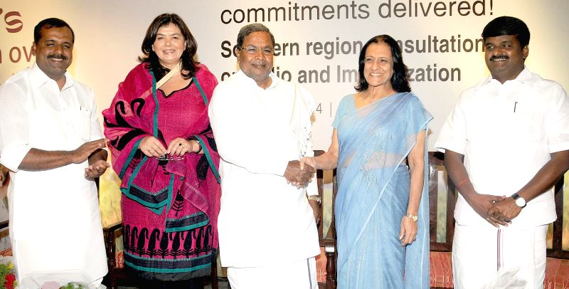 Karnataka Chief Minister Siddaramaiah during inauguration of `Consultation on Polio and Immunization - South India` in Bangalore on Aug 19, 2014. - Siddaramaiah