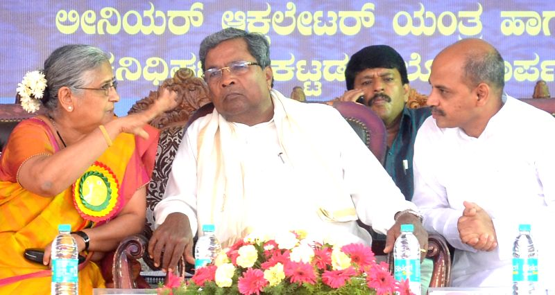 "Karnataka Chief Minister Siddaramaiah during foundation stone laying programme of ""Asare Infosys Dharamasala"" in Bengaluru on May 2, 2017. - Siddaramaiah"