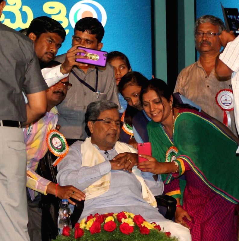 Karnataka Chief Minister Siddaramaiah during a programme organised to celebrate three years of his government in Bengaluru, on May 13, 2016. - Siddaramaiah