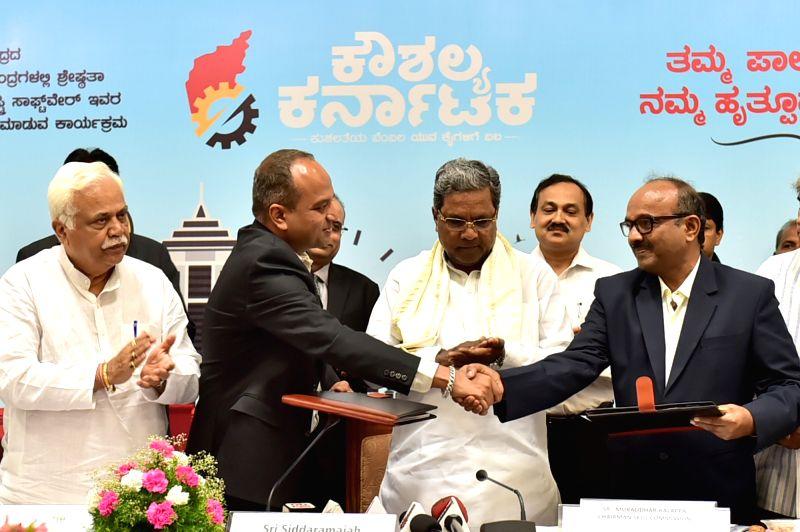 Karnataka Chief Minister Siddaramaiah during a programme organised to sign MoU between Siemens and Government of Karnataka at Vidhan Soudha in Bengaluru, on June 9, 2017. - Siddaramaiah