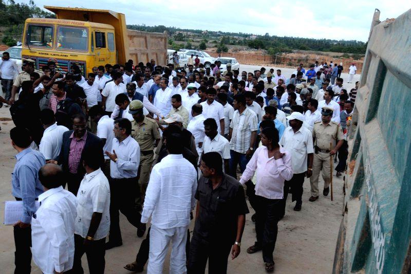 Karnataka Chief Minister Siddaramaiah visiting Manduru Village near Bangalore on August 2, 2014.