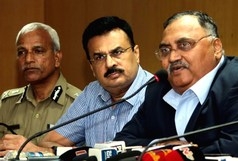 Karnataka DGP Om Prakash, Bengaluru City Police Commissioner N.S. Megharikh and ADGP (Law and Order) Alok Mohan during a press conference in Bengaluru on June 2, 2016.