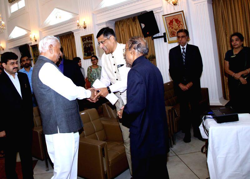 Karnataka Governor Vajubhai R Vala with Chief Economic Adviser Arvind Subramanian at the 6th V.K.R.V. Rao Memorial Lecuture in Raj Bhavan in Bengaluru on Thursday (Photo: IANS)