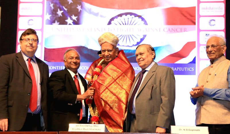 "Karnataka Governor Vajubhai Rudabhai Vala at the inauguration of ""Global Cancer Summit-2015"" International Collaborative Conference at IISc in Bengaluru, on Nov 18, 2015. Also ..."