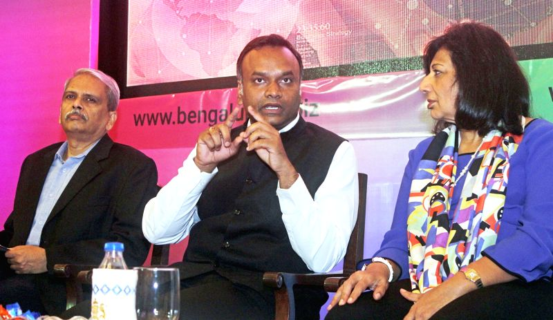 Karnataka IT and BT Minister Priyank Kharge, Infosys Executive Vice Chairman Krish Gopalakrishnan and Biotech entrepreneur Kiran Mazumdar-Shaw at the curtain raiser for the 20th edition of ... - Priyank Kharge