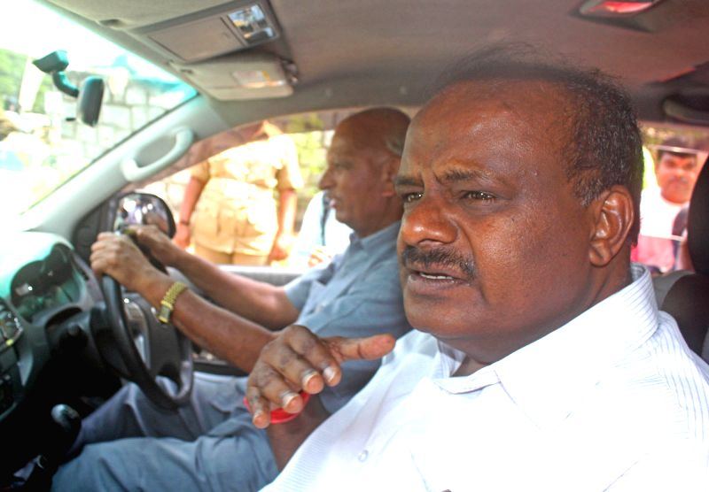 Karnataka JD(S) president HD Kumaraswamy leaves after appearing before a Special Investigation Team (SIT) in connection with Janthakal mining scam, in Bengaluru on May 18, 2017.