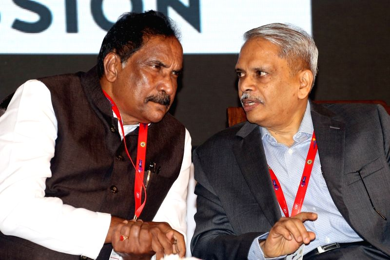 Karnataka Large and Medium Industries Minister K.J. George in a conversation with Infosys co-founder Kris Gopalakrishnan at the inaugural programme of 14th India Innovation Summit under ... - K.