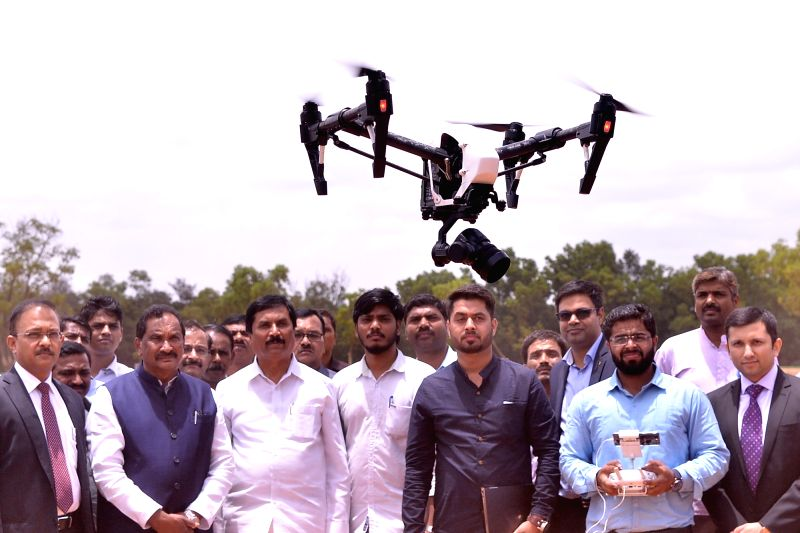 Karnataka Minister KJ George at the launch of a pilot project where Unmanned Aerial Vehicles (UAVs) will be deployed in applications related to Agriculture, Policing and Urban Development, ... - K