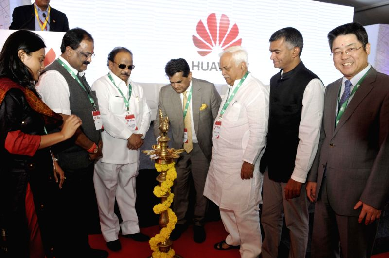 Karnataka Ministers Krishna Byre Gowda, Roshan Baig and others with Chinese Ambassador to India Le Yucheng at the inauguration of Huawei's R&D campus  at Whitefeld in Bengaluru, on Feb 6, 2015. - Krishna Byre Gowda and Roshan Baig