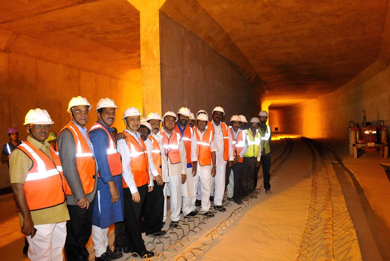 Karnataka Ministers Ramalinga Reddy and Roshan Baig alongwith a team of Karnataka legislators inspect the ongoing construction work in a Metro tunnel at GPO in Bangalore on July 12, 2014. - Ministers Ramalinga Reddy and Roshan Baig