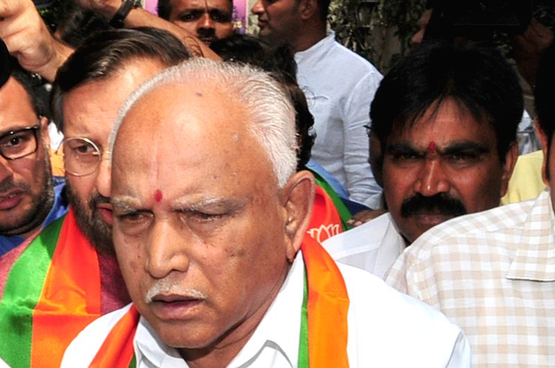 Karnataka Praja Janata Paksha leader R Shankar seen with BJP leaders B.S. Yeddyurappa and Prakash Javadekar n Bengaluru on May 16, 2018.