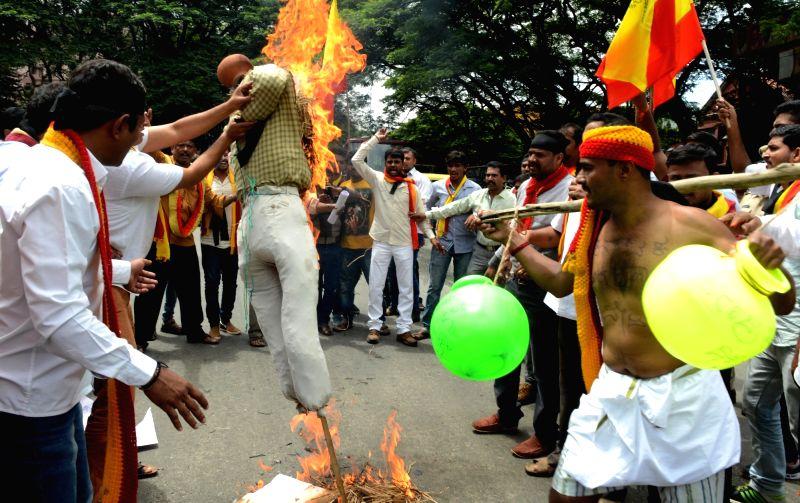 Karnataka Rakshana Vedike members stage a demonstration against verdict on Mahadayii Kalasa Bandoori water projects, in Bengaluru on July 28, 2016.