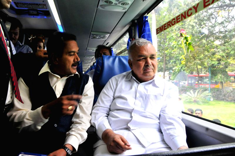 Karnataka Transport Minister Ramalinga Reddy aboard newly launched KSRTC Scania Metrolink bus at KSRTC Head Office in Bangalore on Aug 4, 2014. - Ramalinga Reddy