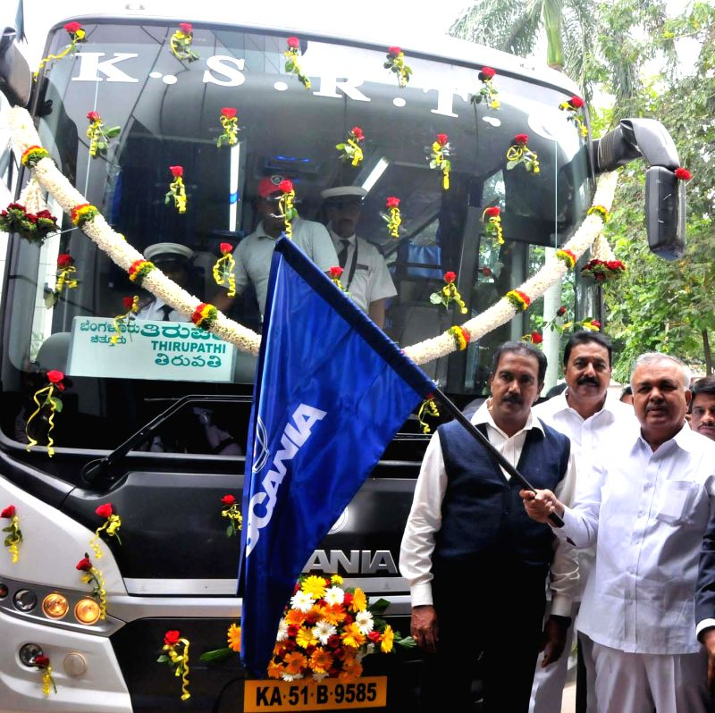 Karnataka Transport Minister Ramalinga Reddy flags-off KSRTC Scania Metrolink bus at KSRTC Head Office in Bangalore on Aug 4, 2014. - Ramalinga Reddy