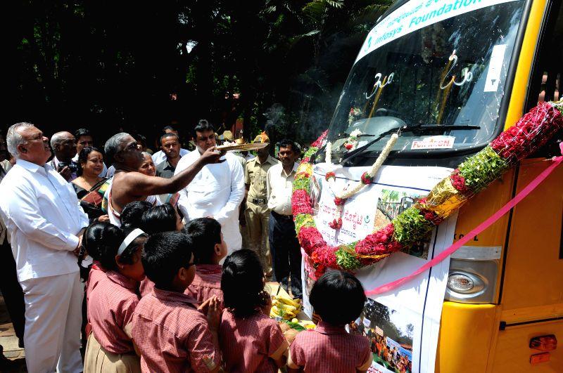 Karnataka Transport Minister Ramalinga Reddy at the launch of `Balbhavan bus for Children` in Bangalore on Aug 21, 2014. - Ramalinga Reddy