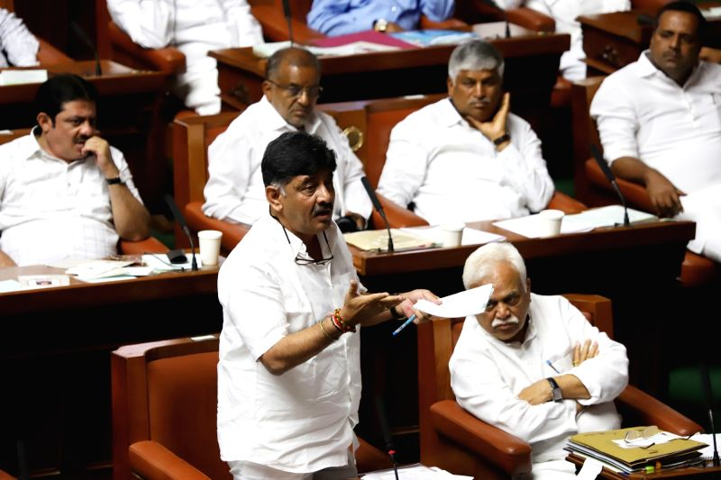 Karnataka Water Resources Minister DK Shivakumar during the discussion on audiogate controversy at the Assembly Session at Vidhana Soudha, in Bengaluru on Feb 11, 2019. - D