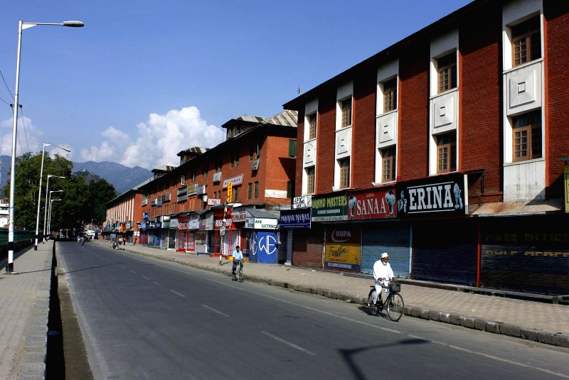 Kashmir valley is observing a complete shutdown against the Kausar Nag Yatra on August 2, 2014.