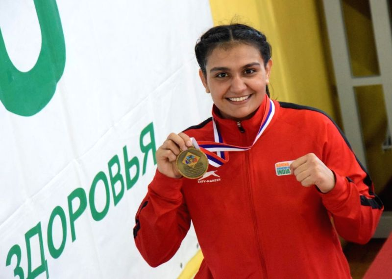 Kaspiysk : Indian boxer Saweety Bora after winning her gold medal at the Umakhanov Memorial Tournament in Russia'sKaspiysk on June 12, 2018.