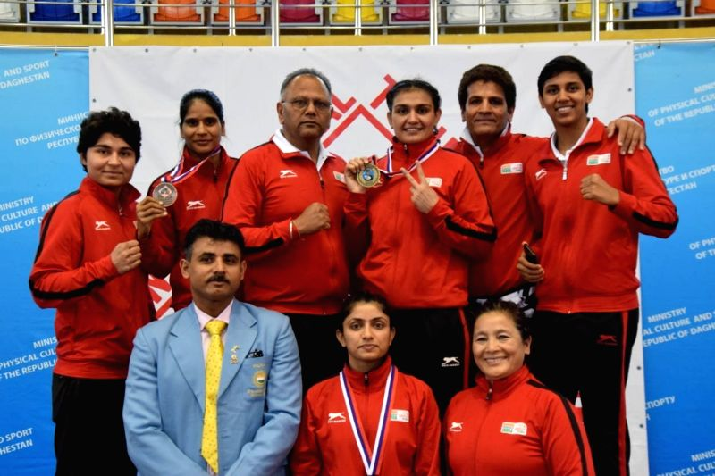Kaspiysk : Indian boxers (women) who participated in Umakhanov Memorial Tournament in Russia's Kaspiysk on June 12, 2018.