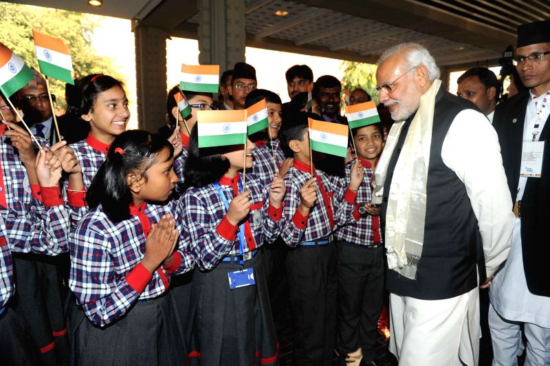 A welcome for the Prime Minister Narendra Modi at Kathmandu, in Nepal  on Nov 25, 2014. Modi is visiting Nepal to participate in the 18th SAARC Summit - Narendra Modi