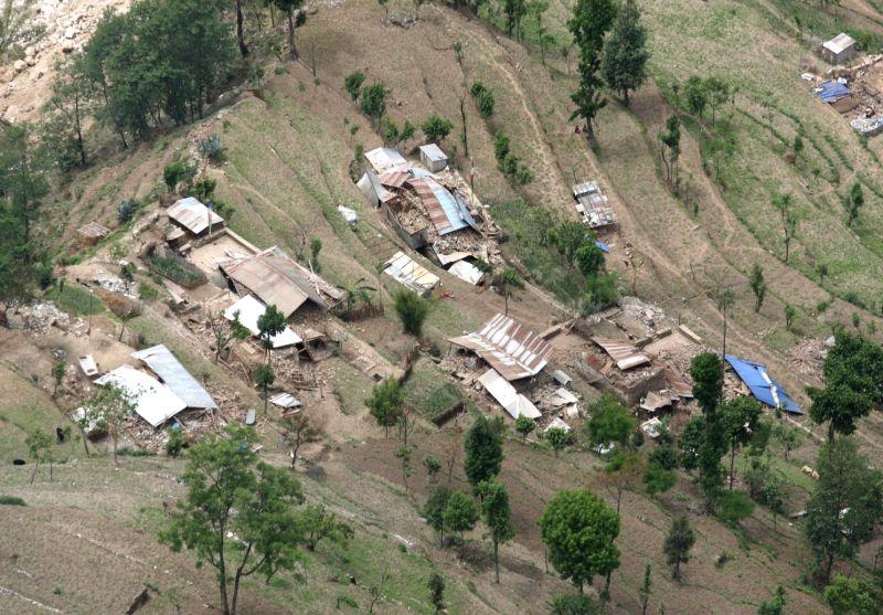 An aerial view of an earthquake hit village taken from an IAF aircraft en-route to Narain Thang near Kathmandu on April 27, 2015.