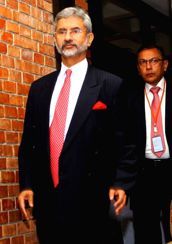 April 2, 2015  Indian Foreign Secretary Subrahmanyam Jaishankar (front) walks to attend a press conference organized in Kathmandu, Nepal, April 2, 2015. Indian Foreign Secretary ... - Narendra Modi