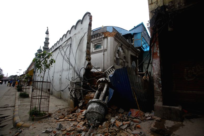 A damaged building is seen after an earthquake in Kathmandu, Nepal, April 25, 2015. As many as 500 people were known to have been killed so far in the strong ...