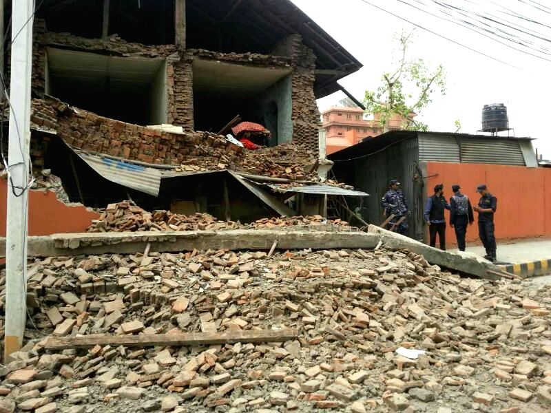 Photo taken on April 25, 2015 shows a collapsed building struck by an earthquake in Kathmandu, Nepal. A 8.1-magnitude earthquake struck Nepal, at 2:11 p.m. ...