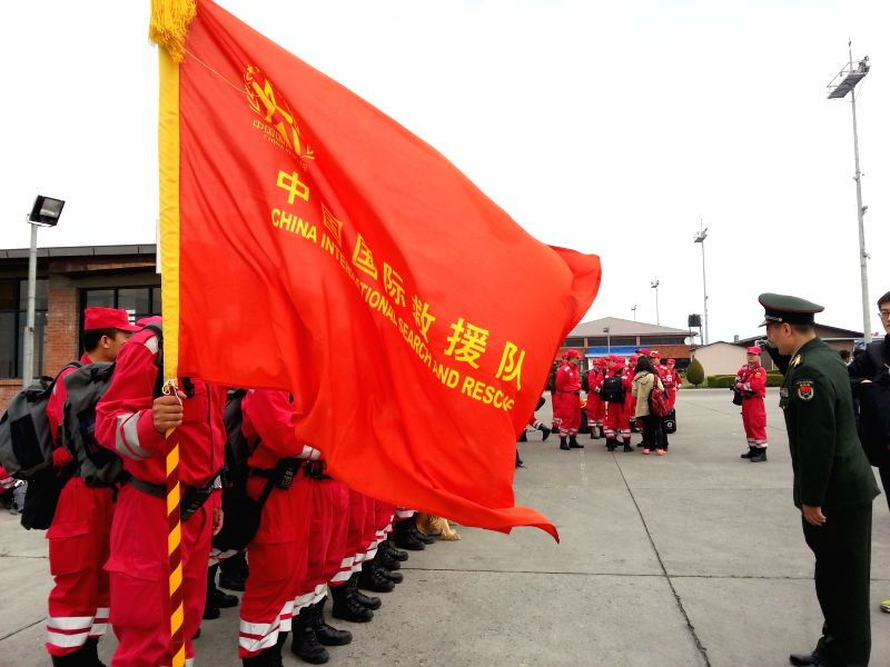 Members of China International Search and Rescue Team arrive at Tribhuwan International Airport in Kathmandu, Nepal, April 26, 2015. The 62-strong China ...