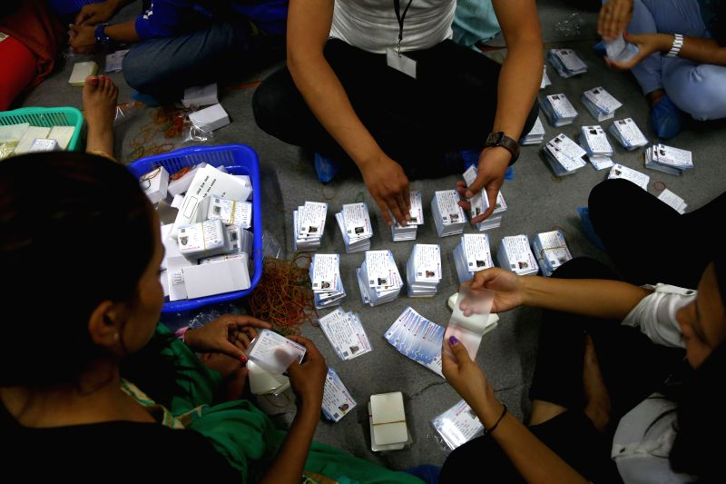KATHMANDU, April 29, 2017 - Officials prepare voters' identity cards for the upcoming election in Kathmandu, Nepal, on April 29, 2017. The Nepali government will hold local body elections in two ...