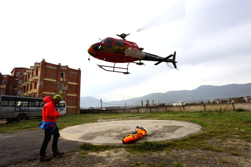 "KATHMANDU, April 30, 2017 - The body of famous Swiss climber Ueli Steck known as ""Swiss Machine"" is brought by a helicopter at Teaching Hospital in Kathmandu, Nepal on April 30, 2017. ..."