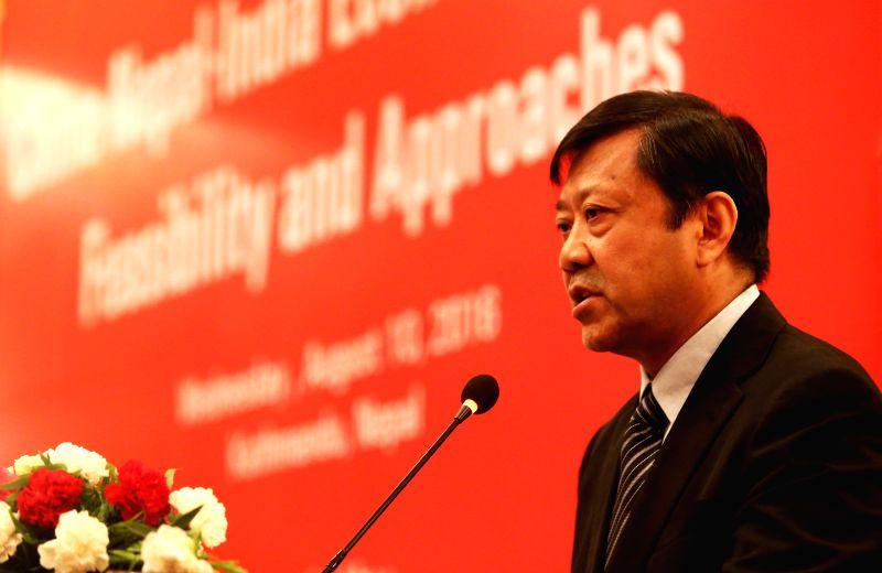 "KATHMANDU, Aug. 10, 2016 - Ji Zhiye, president of China Institutes of Contemporary International Relations (CICIR), addresses the opening of a workshop on ""China-Nepal-India Economic Corridor: ..."