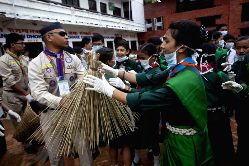 Nepal scouts participate in the 8th waste-free community program organized by Lakasha Conservation Group of Kathmandu, at Basantapur Durbar Square, Kathmandu, ...