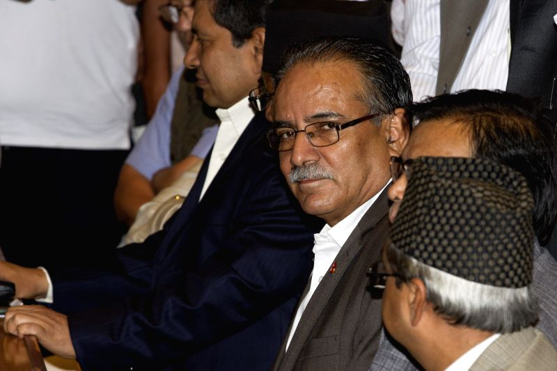 KATHMANDU, Aug. 2, 2016 - Nepal's Chairman of CPN Maoist-Centre Pushpa Kamal Dahal (3rd R) registers his candidacy for the post of prime minister in Kathmandu, capital of Nepal, on Aug. 2, 2016. ...