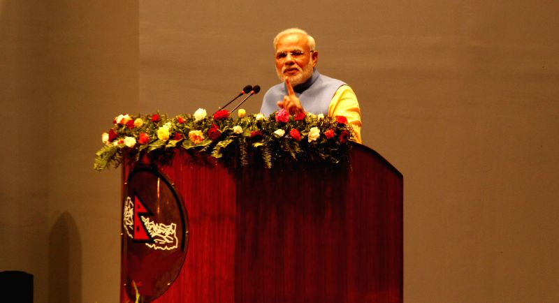 Indian Prime Minister Narendra Modi delivers a speech at the Constituent Assembly in Kathmandu, Nepal, Aug. 3, 2014. Indian Prime Minister Narendra Modi arrived ... - Narendra Modi