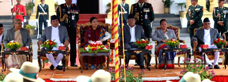 KATHMANDU, Aug. 4, 2016 - Nepalese President Bidya Devi Bhandari (3rd L) attends the oath-taking ceremony with Nepal's newly elected Prime Minister Pushpa Kamal Dahal (3rd R), Honorable Justice of ... - Pushpa Kamal Dahal and P Sharma Oli