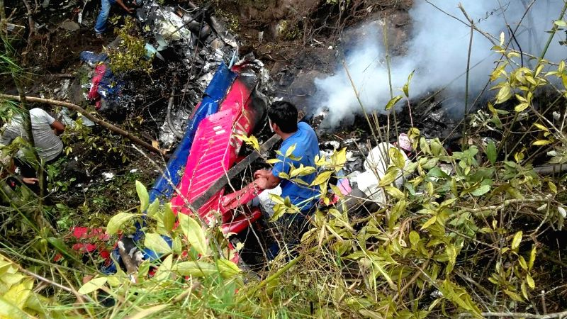 KATHMANDU, Aug. 8, 2016 - Photo taken on Aug. 8, 2016 shows the site of the Fishtail helicopter crash in Nuwakot district of Nepal. All seven on board including a newly-born baby were killed in a ...