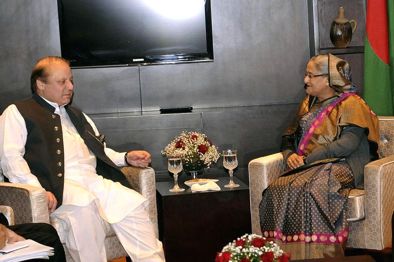 Bangladesh Prime Minister Sheikh Hasina meets Pakistan Prime Minister Nawaz Sharif during the 18th SAARC Summit, in Kathmandu, Nepal, on Nov 26, 2014. - Sheikh Hasina